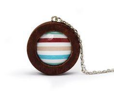 Kette Summerfeelin' N° 016 · Wooden Pendant Long Necklace Stripes von FunStyle auf DaWanda.com
