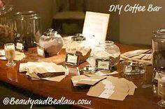 coffee bar display ideas - Google Search Diy Wedding Bar, Coffee Bar Wedding, Wedding Favors, Wedding Reception, Party Favors, Wedding Decorations, Creative Party Ideas, Creative Food, Coffee Bars In Kitchen