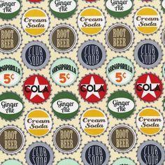 Michael Miller Fabric POP TOP Retro Pop Bottle Caps-yards
