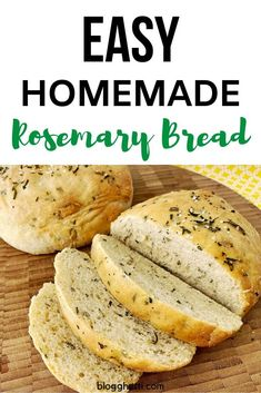 This homemade Rosemary Bread is a simple yeast bread infused with fresh rosemary and is free-formed, so no bread pans are needed. The bread has a golden crust and is soft on the inside, making it the perfect bread. Bread Maker Recipes, Yeast Bread Recipes, Cornbread Recipes, Jiffy Cornbread, Soft Crust Bread Recipe, Rosemary Bread Machine Recipe, Fresh Yeast Bread Recipe, Simple Bread Recipe, Cake Recipes
