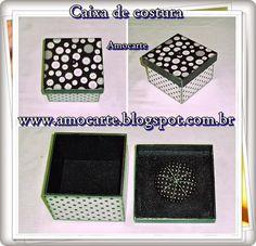 Caixa de costura com fuxico - mdf madeira http://www.amocarte.blogspot.com.br/