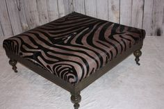 Rustic Dark Walnut Zebra Print Cowhide Ottoman by 1801FurnitureCo