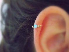 Cute Ear Piercing Ideas - Opal Gold Cartilage Earring Ring 16G at MyBodiArt.com