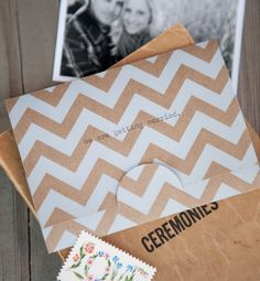 tan chevron wedding invitation