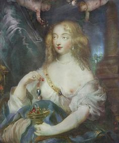 Madame de Montespan holding the le Tavernier, the Hope Diamond, source unknown