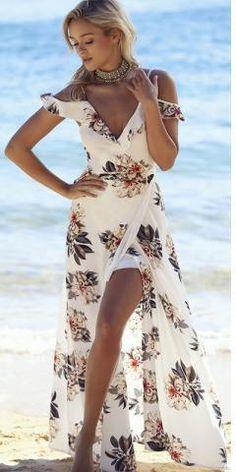 574dd278f5c Elegant White Floral Chiffon Maxi Dress