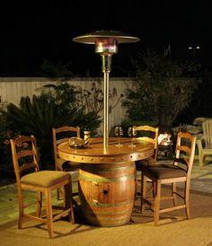 wine barrel table set + built in heat lamp!!