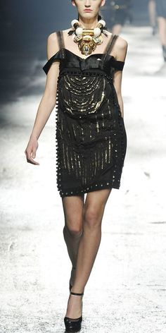 Lanvin Dress (Women's Pre-owned Runway Gold Sequin Tulle Silk Cocktail Net-a-Porter Designer Dress)