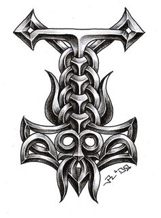 Thor Hammer Tattoo, Thor'S Hammer Tattoo, Viking Tattoos, Thor Tattoos, Celtic Tattoos, Thors Hammer Tattoos, Thor Tattoo Vikings