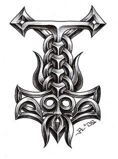 Thor Hammer Tattoo, Thor'S Hammer Tattoo, Viking Tattoos, Thor Tattoos, Celtic Tattoos, Thors Hammer Tattoos, Thor Tattoo Vikings