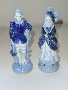 Vintage Occupied Japan Puppies In A Basket Figure Blue White Porcelain
