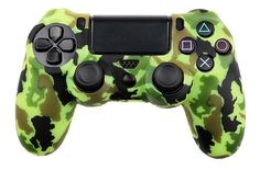 YoRHa Water Transfer Printing Camouflage Silicone Cover Skin Case for Sony Dualshock 4 controller x yellow) With Pro thumb grips x Game Controller, Xbox One Skin, Army Camouflage, Gaming Accessories, Popular Videos, Skin Case, Skin So Soft, Green And Brown, Consoles