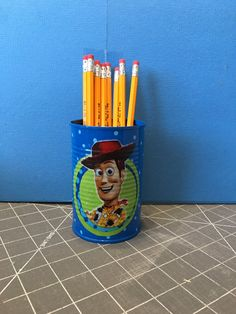 TOY STORY WOODY Can Holder/Pencils/Pens/Brushes/Markers/Flowers/Candy/Money/Gift Holder by KreationsGalore on Etsy