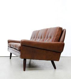 Svend Skipper; Teak and Leather Sofa, c1960.