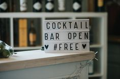 Cocktail Bar Light Box Wedding Sign - Boconnoc House Cornwall Exclusive Hire Wedding Venue Bride in Watters And Bridesmaids in Blush Pink with Flowers by Laura Hingston Images by Nick Walker