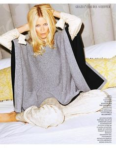 Claudia Schiffer poses in a look from her TSE cashmere collaboration