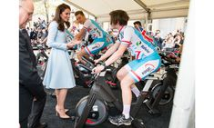 """Kate Middleton then visited a cycling festival where she watched Luxembourg road cyclists on bikes but avoided getting on one herself. She joked to Kim Kirchen, a former Tour de France rider, his wife Caroline and their six-year-old twin boys Liam and Mike, thatshe now has """"no excuse now to not get on a bike."""""""