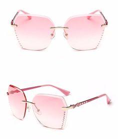 b54182dab7e Peekaboo 2017 rimless sunglasses female brand design metal crystal polygon  rimless shades women brown white UV400