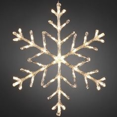 Snowflake Outdoor Christmas Light 60cm Warm White LED - Battery Operated