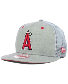 2179623d33b New Era Los Angeles Angels of Anaheim Heather Trucker 9FIFTY Snapback Cap  Caps Game