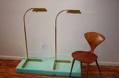 Pair Mid Century Modern Casella Brass Adjustable Floor Lamp Hollywood Regency   eBay
