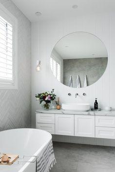 Amber Tiles Kellyville: Hampton's bathroom design Herringbone tile feature White Bathroom Tiles, Bathroom Tile Designs, Bathroom Layout, White Tiles, Bathroom Interior Design, Bathroom Styling, Bathroom Mirrors, Bathroom Ideas, Bad Inspiration