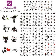 KADS BLE2193-2203 Lovely Cat Cartoon Water Transfer Decals Nail nail decoration sticker for nail art water decals nail sticker #clothing,#shoes,#jewelry,#women,#men,#hats,#watches,#belts,#fashion,#style