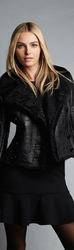 Chic Outerwear and Jackets from Ralph Lauren Black Label / BLACK LABEL SHEARLING LUISANA JACKET