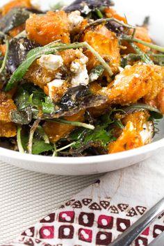 Crunchy Pumpkin Salad - Vibrant cumin roasted pumpkin chunks, crumbles of creamy…