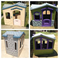 Before & After! $15 dollar garage sale playhouse! I taped off and used Rustoleum Painters Touch Ultra Cover spray paint that bonds to plastic (I found it at Home Depot). I then bought some chevron fabric and sewed up little curtains. I attached them with velcro to the playhouse so I can take them down and wash them. Outdoor Play Areas, Outdoor Toys, Outdoor Fun, Outdoor Projects, Projects For Kids, Diy For Kids, Diy Projects, Plastic Playhouse, Diy Playhouse