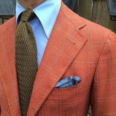 "wearing a Viola Milano ""Olive"" knitted ZigZag tie & handrolled ""Grey Pattern"" pocket square… Jacket: La Vera Sartoria Napoletana by @pinoluciano www.violamilano.com """