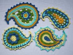 """Paisley Floral"" crochet pattern by allescaro design. PDF pattern $7 through Etsy or Ravelry."