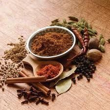 A mixture of several ground spices varying on the recipe, for example cumin seeds, coriander seeds, cardamom pods, black peppercorns, cloves,...