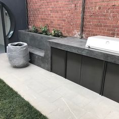 """Determine additional relevant information on """"built in grill patio"""". Check out our site. Diy Grill, Barbecue Grill, Grilling, Grill Area, Bbq Area, Built In Grill, Outdoor Kitchen Design, Yard Design, Modern"""