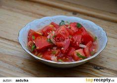 Základní sladkokyselá zálivka na rajčatový salát s cibulí recept - TopRecepty.cz Salsa, Ethnic Recipes, Salsa Music, Restaurant Salsa