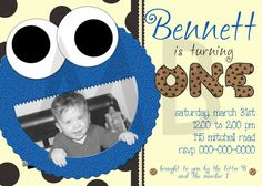 Cookie Monster Birthday Invite  Super love this one. I like the colors mommmmm
