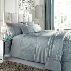 Super king size duvet cover bed set sahara duckegg / faux silk taffeta / crinkle