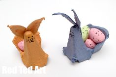 Egg Carton Easter Bunny - a super simple craft once again, using pretty much ONLY egg cartons. Love how the little bunny comes with its very own Easter Basket to carry some tasty little eggs in. A bit of quick Easter fun with the kids!