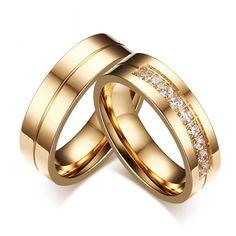 1 Paar Trauringe Ehe Edelstahl Ringe gold Damen Herren Hochzeit Schmuck Liebe