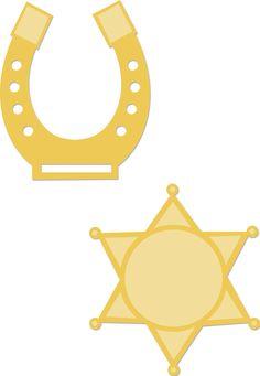 Kaisercraft Decorative Dies | Horseshoe & Badge | DD352 Wild West Cowboys, Badge, Symbols, Scrapbook, Letters, Templates, Stars, Horse, Cricut