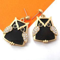 $6.50 Large Owl Bird Dangle Stud Earrings in Black on Gold with Rhinestones