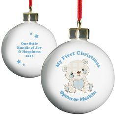 Personalised Blue Teddy Bauble  from Personalised Gifts Shop - ONLY £10.99