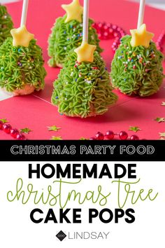 Create an unforgettable Christmas cake pops by forming them into an easy tree shape decorating with green icing sprinkles. It's the perfect Christmas party food and such a fun Christmas treat for kids. Christmas Tree Cake, Christmas Party Food, Homemade Christmas, Xmas, Party Food Homemade, Tree Cakes, Christmas Trends, Luau Party, Christmas Desserts