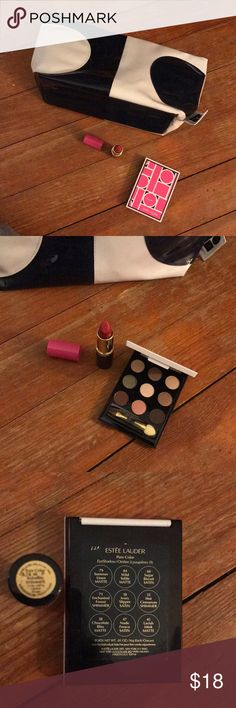 Estée Lauder X lisa perry series makeup eye lip 💄 60s Mod style inspired collab makeup series features blue and white toiletry bag, long lasting shimmer lipstick #88 rubellite, and eyeshadow palette with mirror. Bag is pretty sizable holds probably 45 oz, magenta accents Estee Lauder Makeup