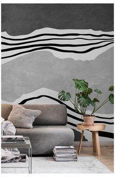 Bedroom Murals, Bedroom Wall, Grey Wallpaper Modern, Grey Wallpaper Accent Wall, Creative Wall Painting, Wall Mural Painting, Painting Wall Stripes, Painted Wall Murals, Painted Stripes