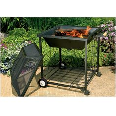 Square Portable Fire Pit with Wheels-Make this summer's get togethers mobile by adding casters!