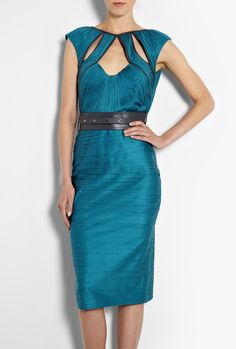 Catherine Deane Megan Pleated Leather Trim Belted Dress