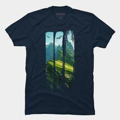 Mountain Landscape T Shirt By Parjono Design By Humans Shirt Print Design, Tee Shirt Designs, T Shirt Printing Design, Cute Tshirts, Cool Shirts, Tee Shirts, Mountain Landscape, Printed Shirts, Shirt Style