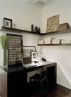 A few shelves over desk.  Nice corner shelf.