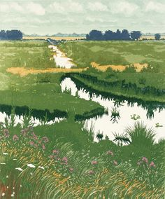 Forked Dyke by Jan Dingle, a contemporary printmaker, largely Norfolk.